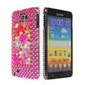 Bling flower 3D crystals diamond cases covers for Samsung Galaxy Note I9220 - Pink