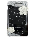 Bling flower S-warovski crystals diamond cases covers for Samsung Galaxy Note I9220 - Black