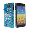 Bling flower crystals diamond cases covers for Samsung Galaxy Note I9220 - Blue