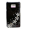 Bling flowers crystals diamonds cases covers for Samsung i9100 Galasy S II S2 - Black