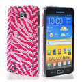 Bling zebra crystals diamond cases covers for Samsung Galaxy Note I9220 - Rose