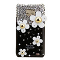 Flowers bling S-warovski crystals diamonds cases covers for Samsung i9100 Galasy S II S2 - Black