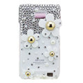 Flowers bling S-warovski crystals diamonds cases covers for Samsung i9100 Galasy S II S2 - White