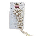 Flowers bling crystals diamonds cases covers for Samsung i9100 Galasy S II S2 - White