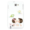 Lover silicone cases covers for Samsung Galaxy Note i9220 N7000 - White