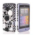 Bling 3D flower crystals diamond cases covers for HTC Salsa G15 C510e - Black