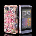 Bling 3D flower crystals diamond cases covers for HTC Salsa G15 C510e - Pink