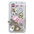 Bling Ballet girl crystals diamond cases covers for HTC Incredible S S710e G11 - White