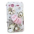 Bling Ballet girl flowers crystals diamond cases covers for HTC Salsa G15 C510e - Pink