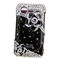 Bling Black Camellia crystals diamond cases covers for HTC Incredible S S710e G11 - Black