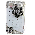 Bling Black Camellia crystals diamond cases covers for HTC Incredible S S710e G11 - White