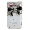 Bling Black bowknot crystals diamond cases covers for HTC Incredible S S710e G11 - White
