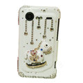 Bling Carousel crystals diamond cases covers for HTC Incredible S S710e G11 - White