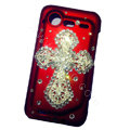 Bling Cross crystals diamond cases covers for HTC Incredible S S710e G11 - Red