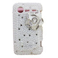 Bling Pearl flower crystals diamond cases covers for HTC Incredible S S710e G11 - White