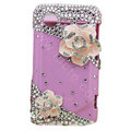 Bling Pink Camellia crystals diamond cases covers for HTC Incredible S S710e G11 - Rose
