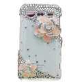 Bling Pink Camellia crystals diamond cases covers for HTC Incredible S S710e G11 - White