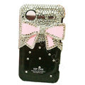 Bling Pink bowknot crystals diamond cases covers for HTC Incredible S S710e G11 - Black