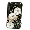 Bling Pumpkin flower crystals diamond cases covers for HTC Incredible S S710e G11 - Black