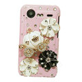 Bling Pumpkin flower crystals diamond cases covers for HTC Incredible S S710e G11 - Pink