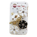 Bling Pumpkin flower crystals diamond cases covers for HTC Incredible S S710e G11 - White