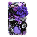 Bling Purple flowers crystals diamond cases covers for HTC Incredible S S710e G11 - Black