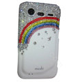 Bling Rainbow crystals diamond cases covers for HTC Incredible S S710e G11 - White