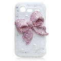 Bling bowknot S-warovski crystals diamond cases covers for HTC Incredible S S710D S710E G11 - Pink