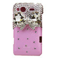 Bling bowknot S-warovski crystals diamond cases covers for HTC Salsa G15 C510e - Pink