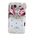 Bling bowknot S-warovski crystals diamond cases covers for HTC Salsa G15 C510e - White