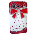 Bling bowknot crystals diamond cases covers for HTC Incredible S S710e G11 - Red