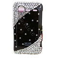 Bling crystals diamond hard cases covers for HTC Incredible S S710e G11 - Black