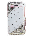 Bling crystals diamond hard cases covers for HTC Incredible S S710e G11 - White