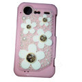 Bling flower pearl crystals diamond cases covers for HTC Incredible S S710e G11 - Pink