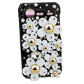 Bling flowers crystals diamond cases covers for HTC Incredible S S710e G11 - Black