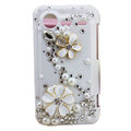 Bling flowers pearl crystals diamond cases covers for HTC Incredible S S710e G11 - White