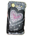 Bling heart crystals diamond cases covers for HTC Incredible S S710e G11 - Black