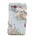Bling pink flowers S-warovski crystals diamond cases covers for HTC Salsa G15 C510e - White