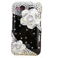 Bling white flowers S-warovski crystals diamond cases covers for HTC Salsa G15 C510e - Black