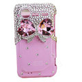 Pink bowknot bling crystals diamond cases covers for HTC Incredible S S710e G11 - Pink