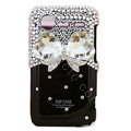 White bowknot bling crystals diamond cases covers for HTC Incredible S S710e G11 - Black