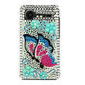 Bling Butterfly crystals cases diamond covers for HTC Incredible S S710e G11 - Blue