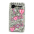Bling Heart crystals cases diamond covers for HTC Incredible S S710e G11 - Pink