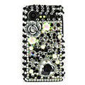 Bling flower 3D crystals cases diamond covers for HTC Incredible S S710e G11 - Black