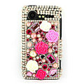 Bling flower 3D crystals cases diamond covers for HTC Incredible S S710e G11 - Rose