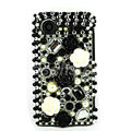 Bling flowers 3D crystals cases diamond covers for HTC Incredible S S710e G11 - Black