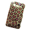 Leopard bling crystals diamonds cases covers for HTC Incredible S S710e G11 - Red