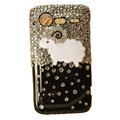 Little lamb bling crystals diamonds cases covers for HTC Incredible S S710e G11 - Black