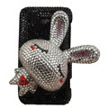 Rabbit bling crystals diamonds cases covers for HTC Incredible S S710e G11 - Black