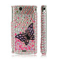 Butterfly bling crystals case covers for Sony Ericsson Xperia Arc LT15I X12 LT18i - Pink